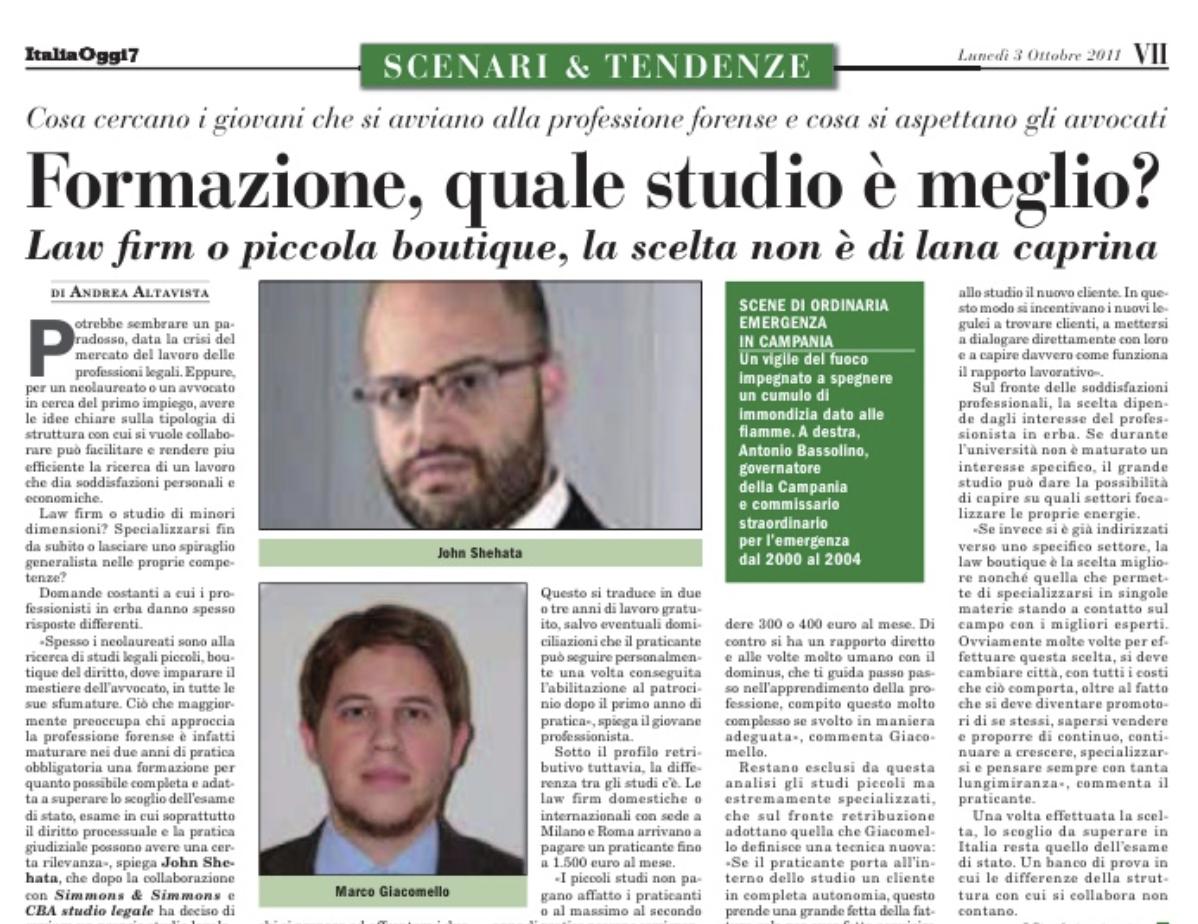 Formazione, quale studio è meglio? – Italia Oggi (Ottobre 2011)