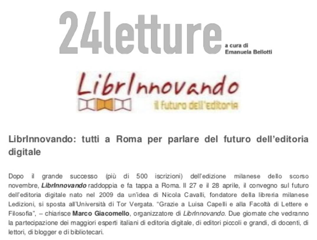 Librinnovando, tutti a Roma per parlare del futuro dell'editoria digitale – 24 Letture (Aprile 2012)