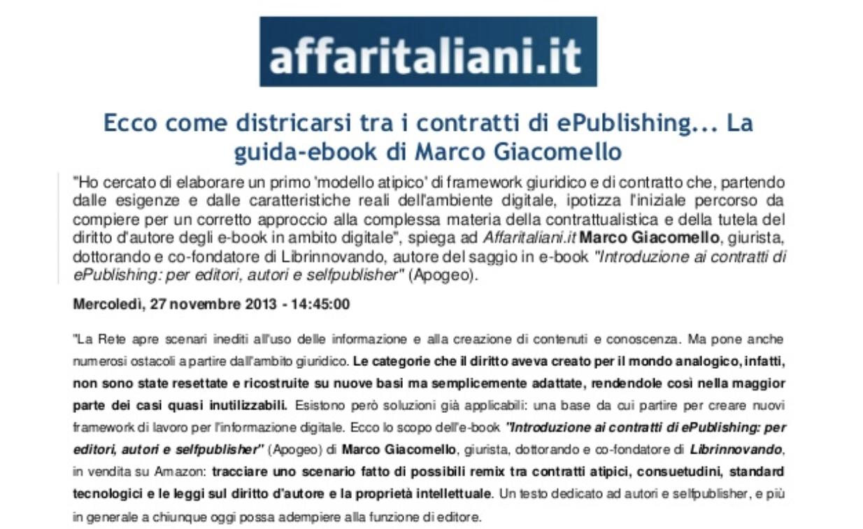 Come districarsi tra i contratti di ePublishing – Affari Italiani (Novembre 2013)