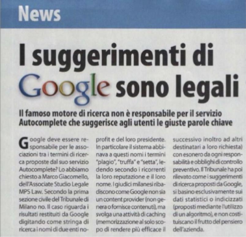 I suggerimenti di Google sono legali – Win Magazine (Giugno 2013)