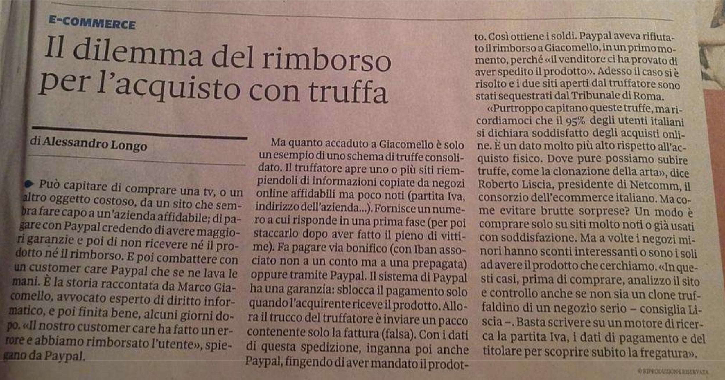 Il dilemma del rimborso per l'acquisto con truffa – Nòva, Il Sole 24 Ore (Gennaio 2013)