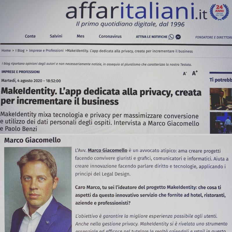 MakeIdentity. L'app dedicata alla privacy, creata per incrementare il business – Affari Italiani (Agosto 2020)